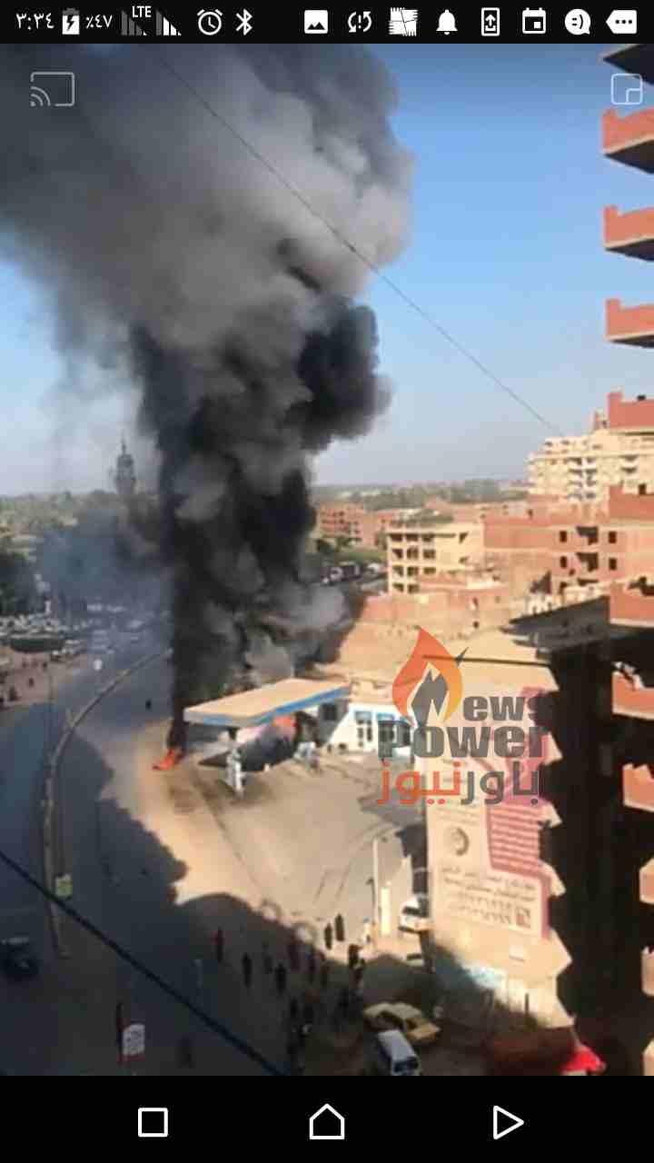 الان ..حريق هائل بمحطة  التعاون  بكفر الجزار بمدينة بنها