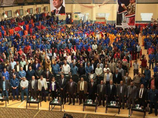 حشود كبيرة من القيادات والعاملين بمؤتمر الشركة العامة للبترول لتأييد الرئيس السيسى لفترة ولاية رئاسية ثانية