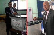 المهندس طاهر عبد الرحيم رئيس شركة بتروسيلة للبترول ومحرم علام يدليان بصوتهما فى الانتخابات الرئاسية
