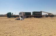صور تظهر وصول المهمات والأبراج لموقع خط الربط مع السودان بالتزامن مع تواجد العضو المتفرغ