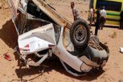 بالأسماء.. مصرع شخصين وإصابة آخرين في حادث انقلاب سيارة تابعة لشركة الكهرباء بطريق