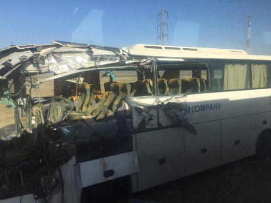 ننشر أسماء المصابين والوفيات فى حادث تصادم أتوبيس يقل عاملون شركة ابيسكو علي بعد 30 كيلو متر من طور سيناء