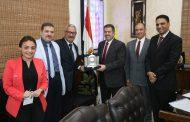 جهاز مشروعات اراضي وزارة الداخلية يكرم رئيس جنوب القاهرة للتوزيع بعد اطلاق التيار الكهربائي بمشروعات الجهاز
