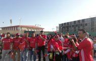 تحت رعاية فتحي .. قطار العاملين بشركة مصر للبترول يصل الي محطة السويس لحضور مباريات امم افريقيا