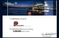 بتروجت تحقق 3,2 مليون ساعة عمل أمنة في مشروع ZOHR l G.E وبيكرز هيوز تمنحها شهادة تقدير