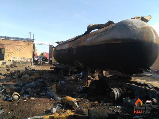 اصابة السائق واثنين آخرين نتيجة حريق صهريجية تابعة لشركة إتش يو