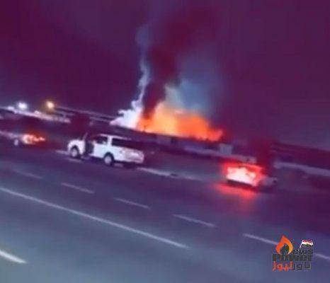 بالصور .. اندلاع حريق بساحة قطار الحرمين بالسعودية والدفاع المدنى يحاول إخماده.