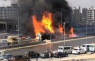 اشتعال النيران في احدي سيارات نقل المنتجات البترولية اعلي الطريق الدائري