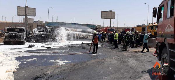 رئيس هيئة البترول والنواب يتفقدون موقع السيارة المحترقة ووزارة البترول تنفي اي علاقة لها بالحادث