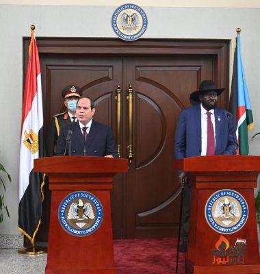 كلمة الرئيس السيسي خلال المؤتمر الصحفي المشترك مع رئيس جنوب السودان