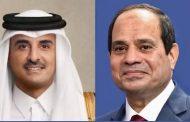 الرئيس السيسي يتبادل التهنئة مع الشيخ تميم بن حمد أمير دولة قطر بمناسبة عيد الاضحي المبارك