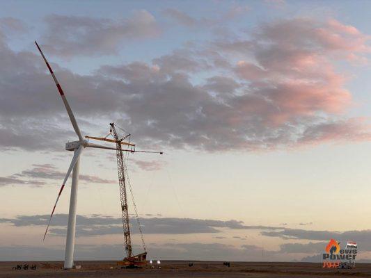 تشغيل أول 20 توربينًا في مشروع غرب بكر لطاقة الرياح